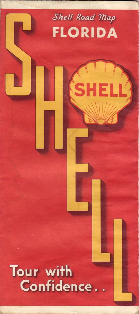 Road Map Florida.1934 Shell Road Map Shell Gasoline Highway Map Of Florida