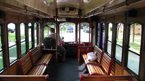Foreward interior view of a Chicago Rolls Royce Limosine Company trolley bus. Elmwood Park Illinois USA. May 2011. | by Eddie from Chicago
