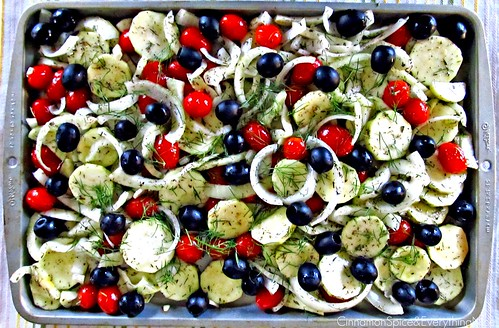 Fennel, Zucchini, Grape Tomatoes, Olives and Onion ready for Roasting | by CinnamonKitchn