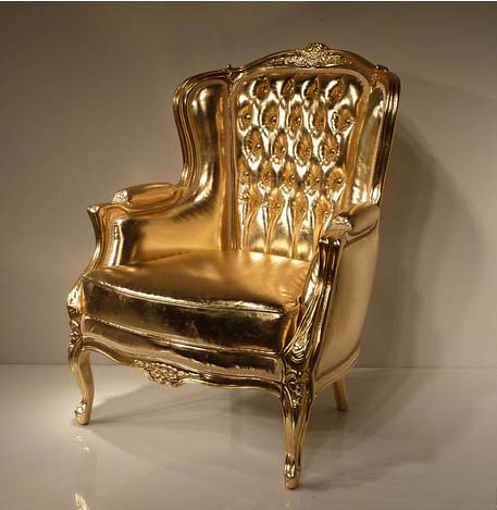 Merveilleux ... 4002 GOLD LEAF TUFTED CHAIR IN ECO LEATHER | By Diva Rocker Glam (844)