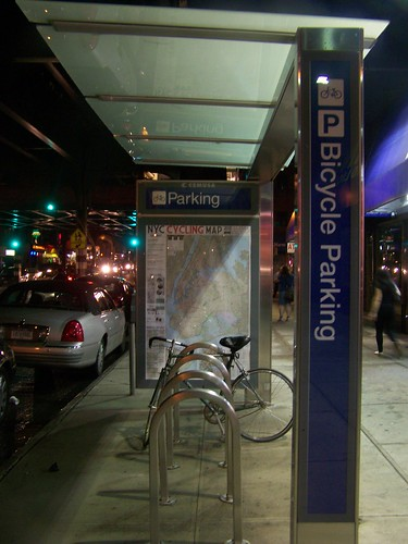 Bicycle parking shelter, Astoria, Queens, NYC
