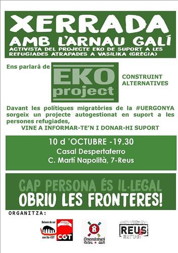 Xerrada a Reus el 10 d'octubre sobre el projecte Eko de suport a les refugiades
