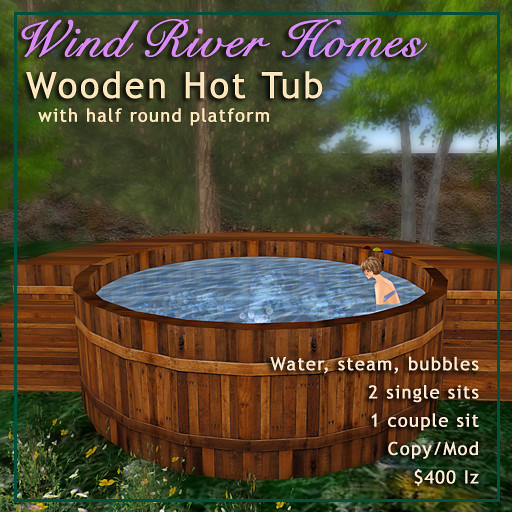 Wooden Hot Tub with half round platform | Rustic wooden hot … | Flickr
