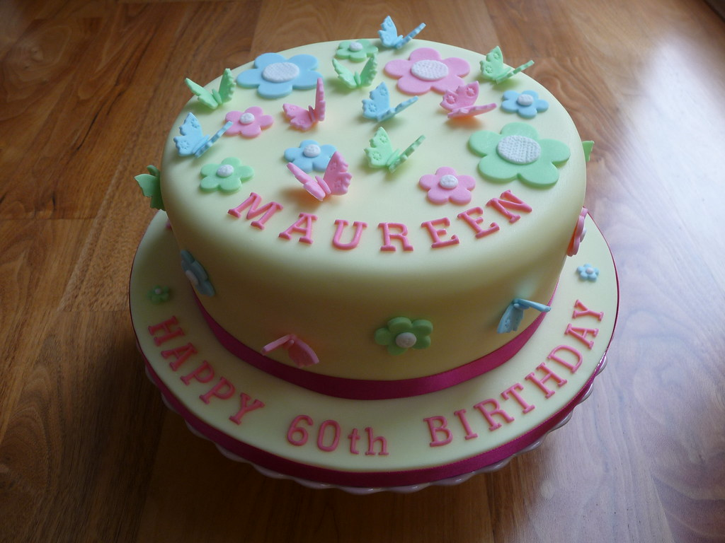 Butterflies And Flowers 60th Birthday Cake This Is A Carro Flickr