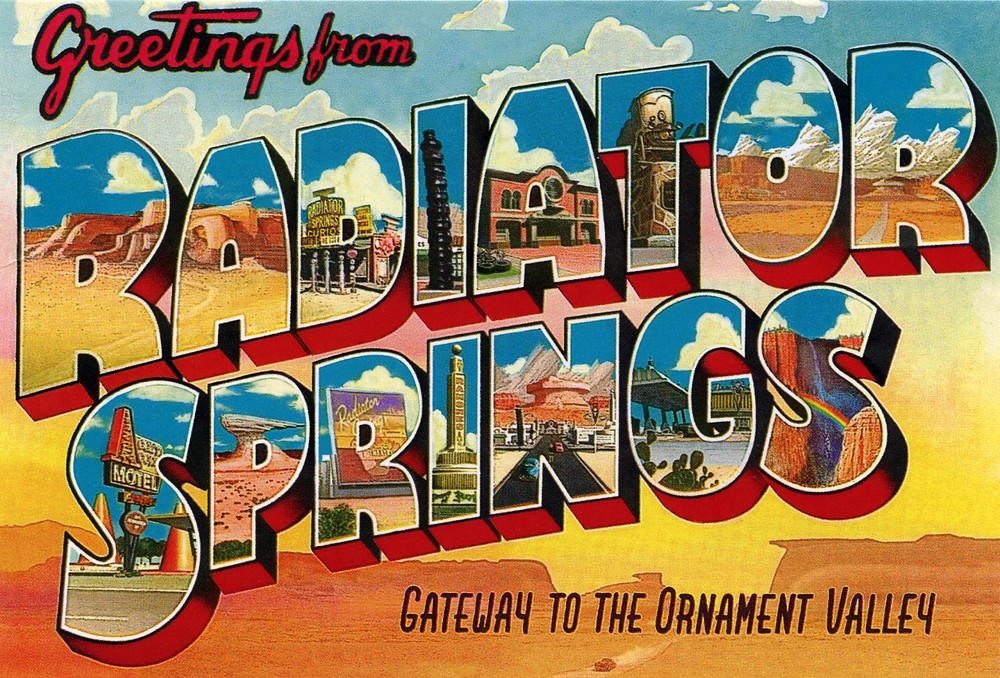 Greetings from radiator springs gateway to the ornament v flickr greetings from radiator springs gateway to the ornament valley large letter postcard by m4hsunfo