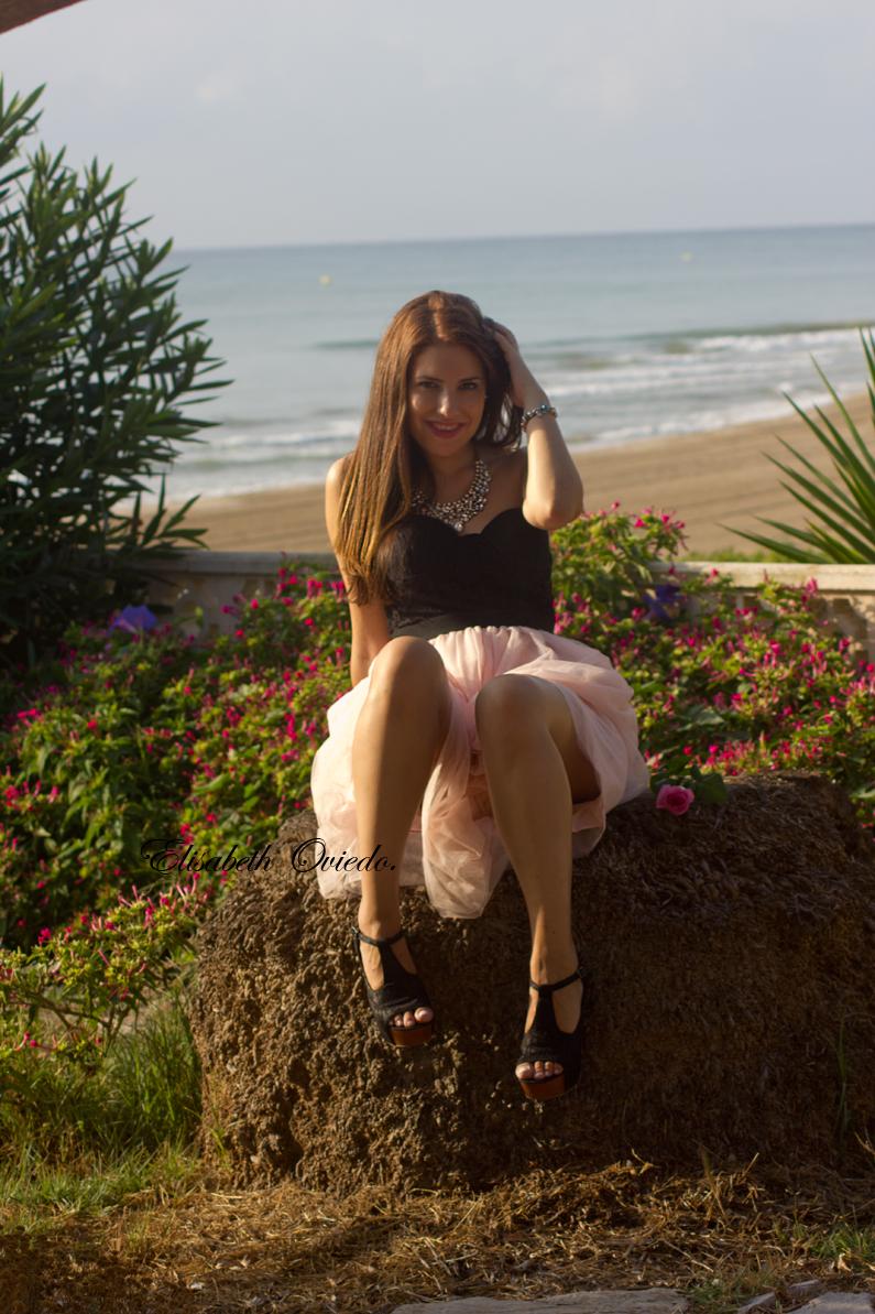 vestido VIPme tacones OASAP HEELSANDROSES Elisabeth Oviedo blog moda vestido palabra de honor falda de vuelo rosa (2)
