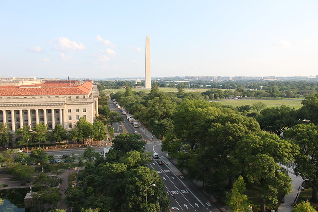 Washington Monument as seen from W Hotel in Washington, D.C. P.O.V Roof Terrace 11th-floor Rooftop Terrace Lounge