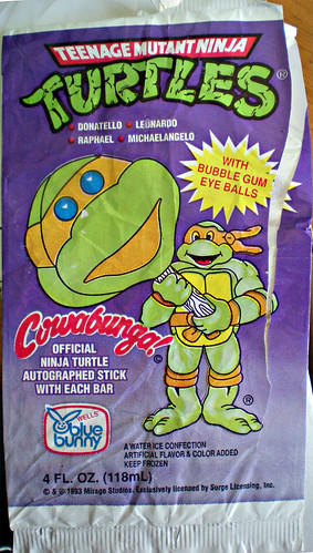 """Blue Bunny"" Teenage Mutant Ninja Turtle 'Face' Bars wrapper .. i (( 1993 )) 
