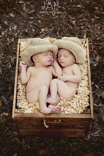 Newborn Twin Boys in Knitted Cowboy Hats | by Jenna Michele Photography