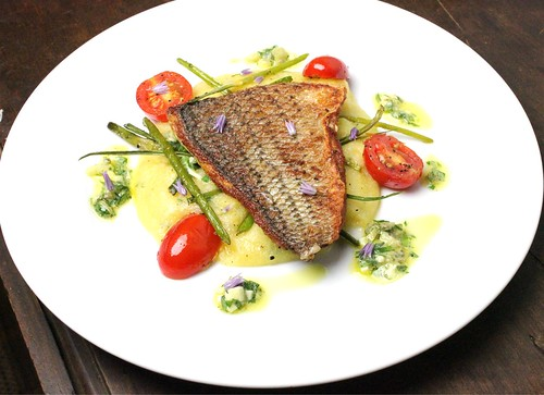 pan fried sea bass with garlic scapes and sauce gribiche | by SeppySills