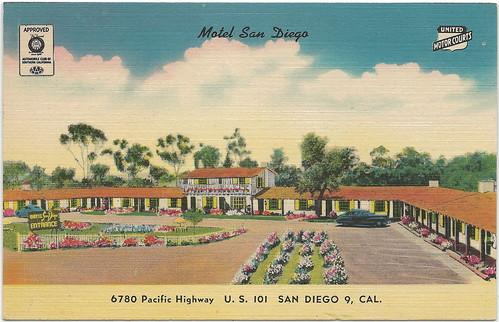 Ca san diego ca 1930s the motel san diego motor inn on us for Us motors san diego