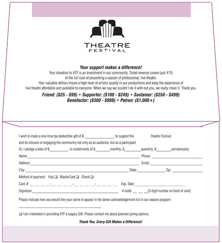 Theatre festival donation envelope inside remittance for Fundraising envelope template