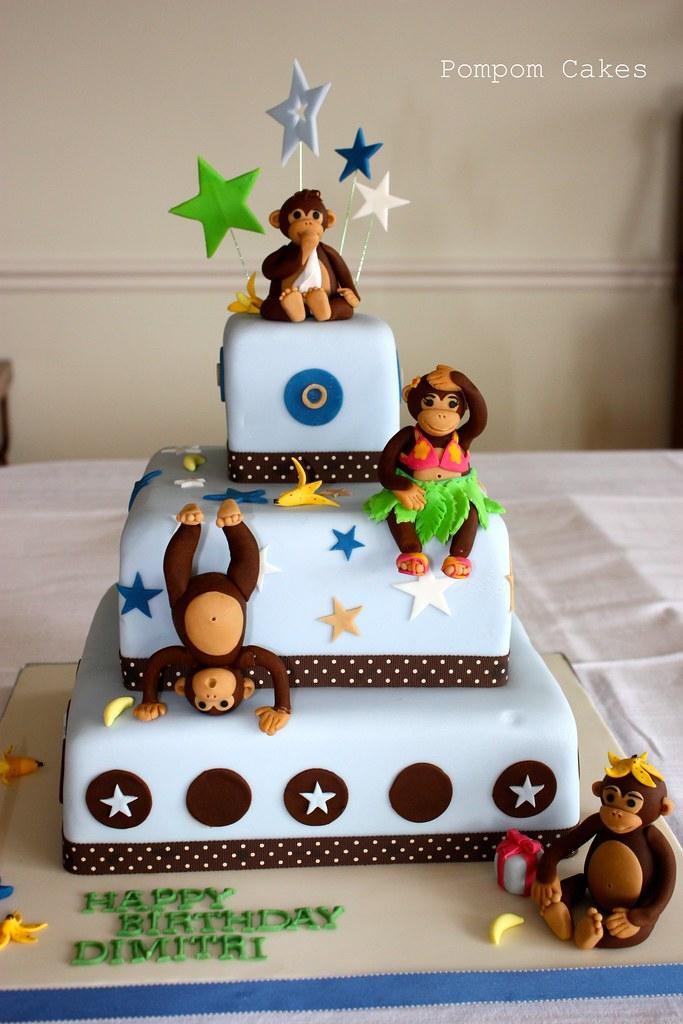 Monkey Birthday Cake A 1st Birthday Cake For My Nephew Re Flickr