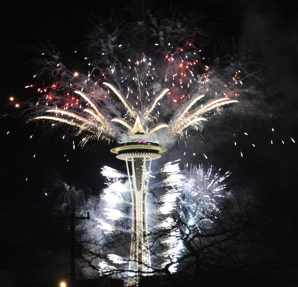 happy new year from seattles space needle washington usa by wonderlane