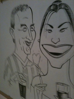Me and Lizzie as seen in a mate's caricature | by london.saints