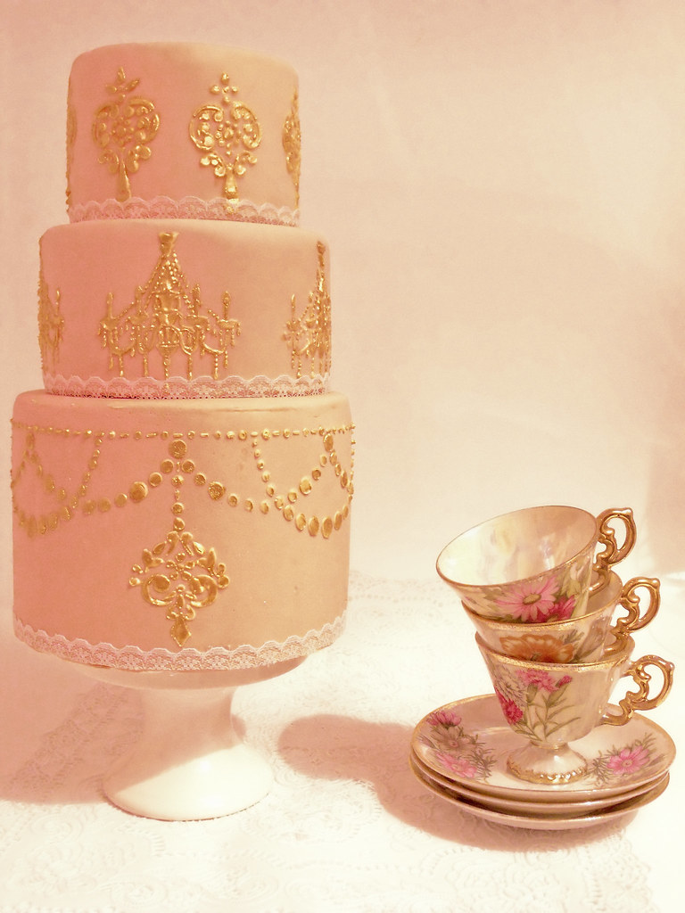 Stencil Cake Pink And Gold By Cakes Tessa
