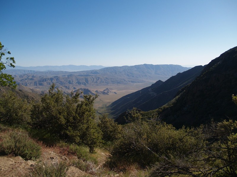 View east from the PCT. Villager and Rabbit Peaks in the distance, Whale Peak right of center