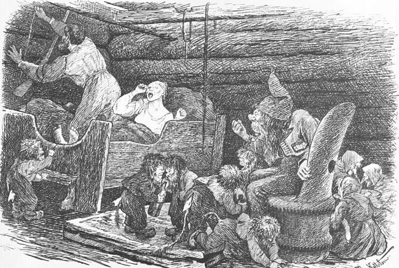 Theodor Kittelsen - Troll og trollunger, mann som griper etter geværet