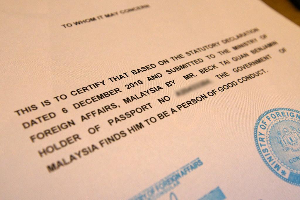 Person of Good Conduct Certificate | Benjamin Beck | Flickr