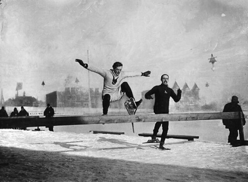 Hurdle race on snowshoes, Montreal, QC, 1892 | by Musée McCord Museum