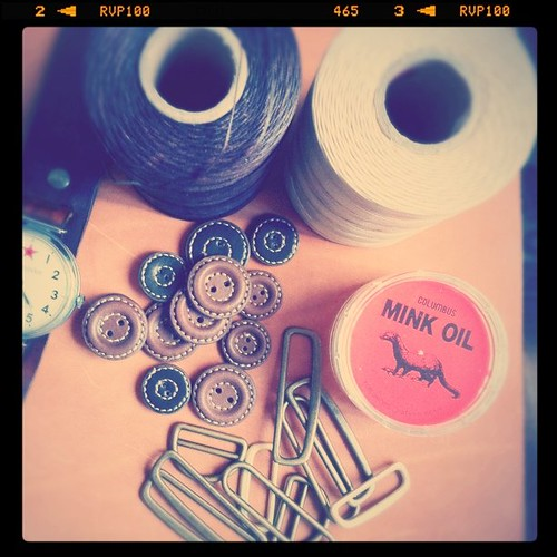 Waxed nylon thread @HK$50, leather buttons HK$63, Mink oil HK$36, metal rings HK$26 | by Patrick Ng