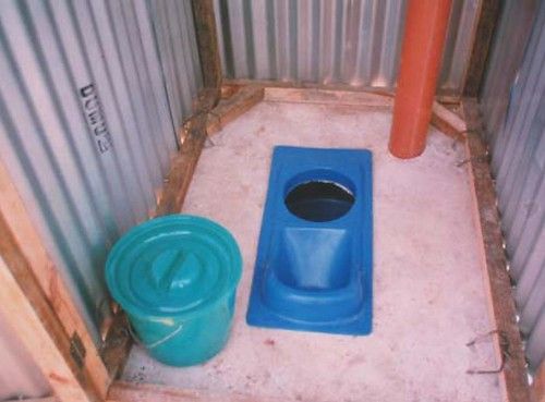The commercially made urine diverting squat plate inside Skyloo | by Sustainable sanitation