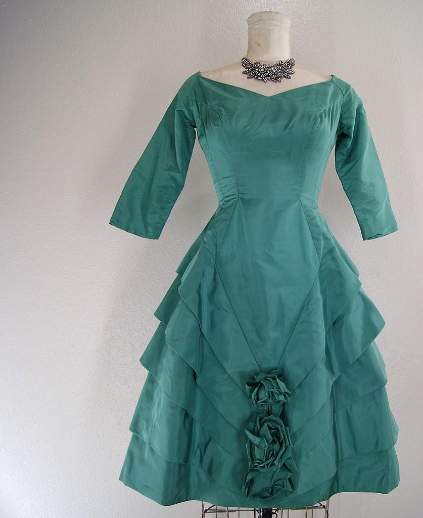EMPRESS 1950s vintage Dress jade green Silk flower appliqu… | Flickr