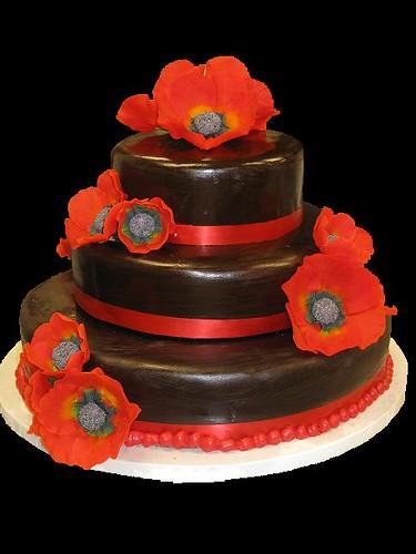 Poppy Rose Cake Design : Poppy Wedding Cake Chocolate fondant covered cake with ...