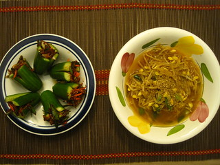 Soybean sprout soup and stuffed cucumbers | by Juice Stain is my contact