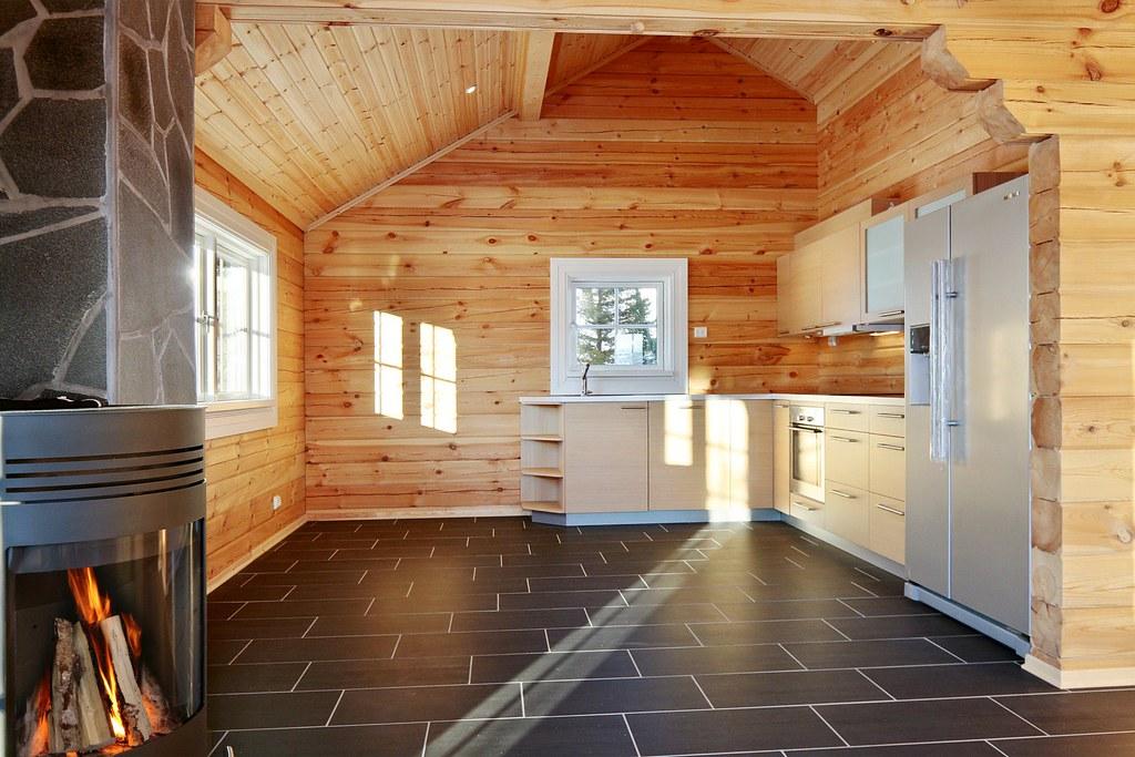 interieur foto van een houten huis logwoning wonen in hout een unieke