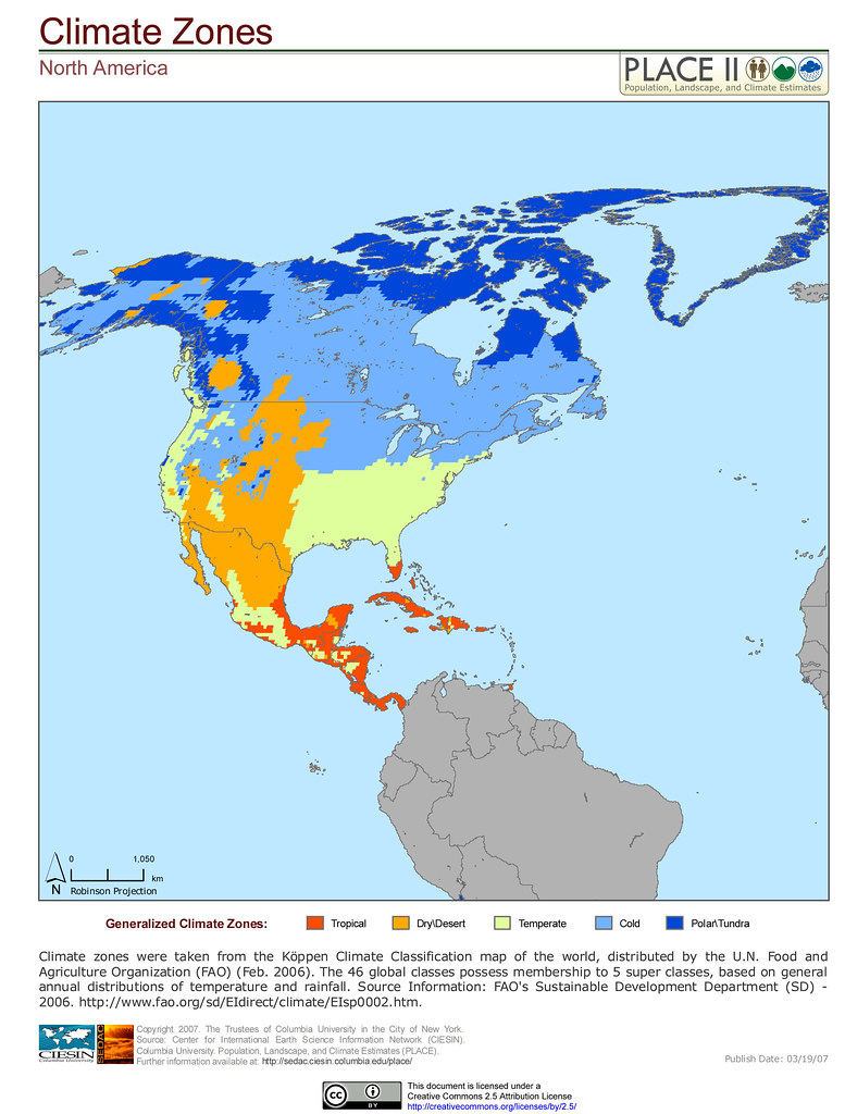 In which climatic zones is North America