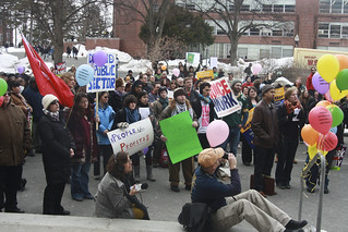march in solidarity with Wisconsin public sector workers outside the Student Union 3/2/11 | by dailycollegian