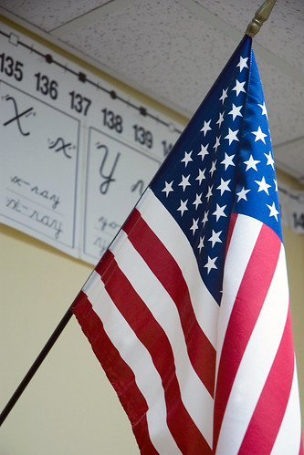 American flag in elementary school classroom | by Just some dust