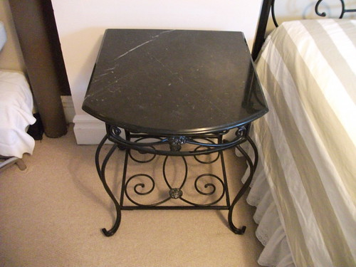 Decorative Wrought Iron Bedside Table W Black Marble Top