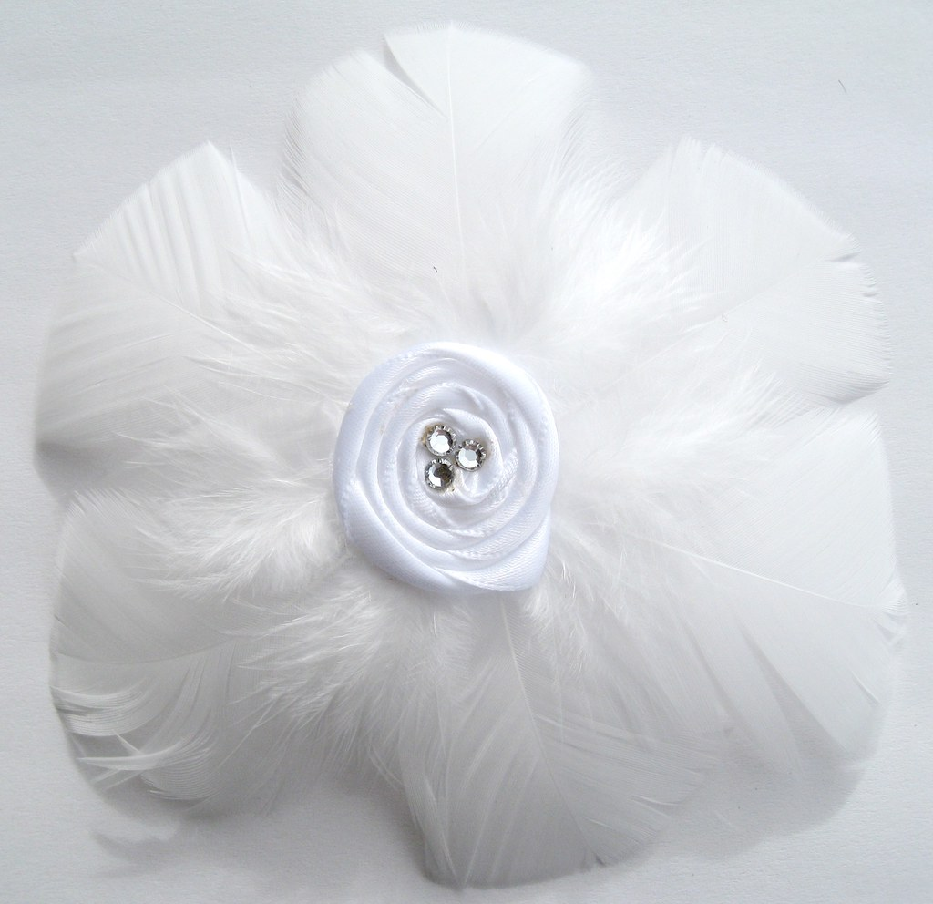 White feather flower hair clip feather flower hair clip av flickr white feather flower hair clip by floofies mightylinksfo