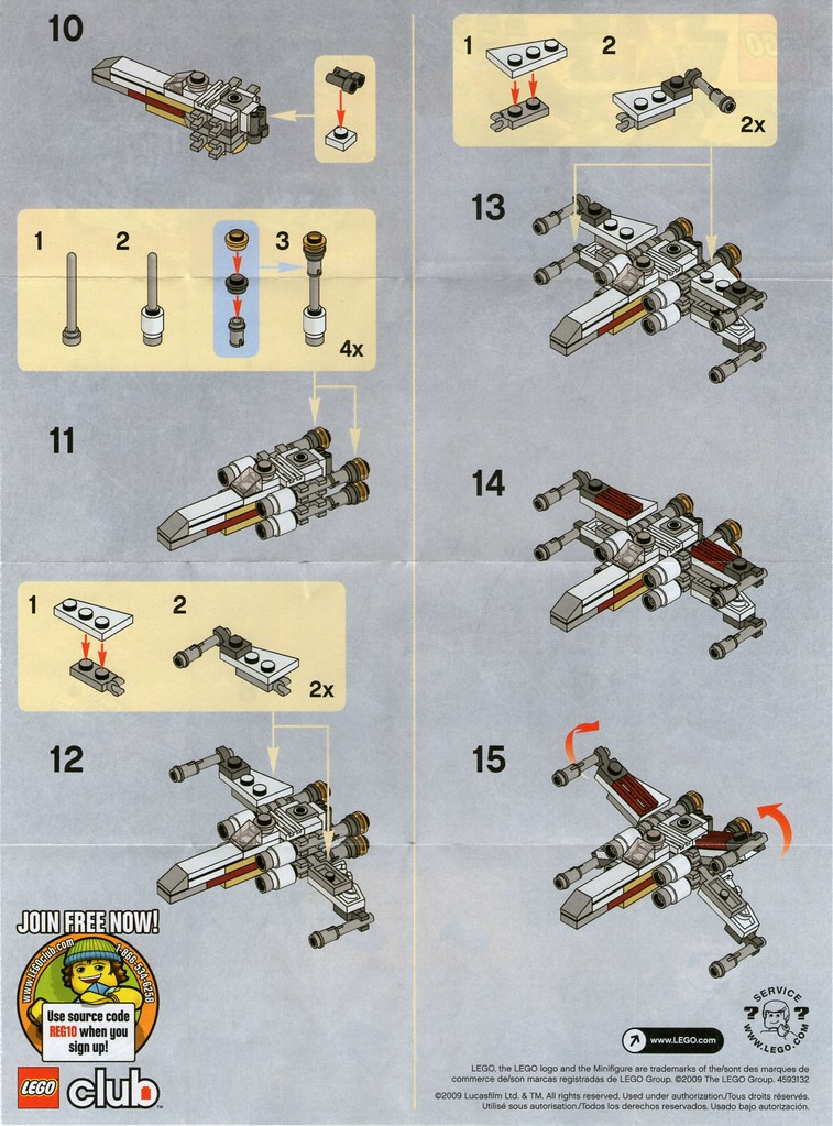Lego Mini X Wing 30051 Instructions Page 2 Franmoff Flickr
