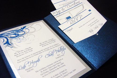 ... Blue (Navy) And Silver Vietnamese Wedding Invitations | By Jonathan Vo