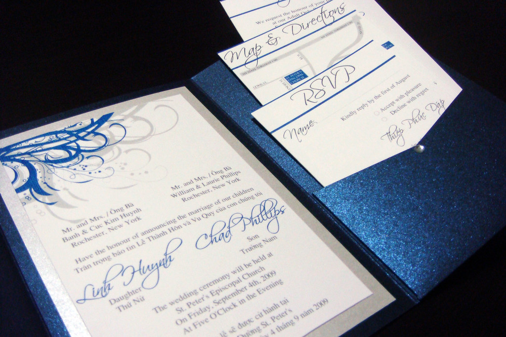 blue navy and silver vietnamese wedding invitations flickr wedding invitations