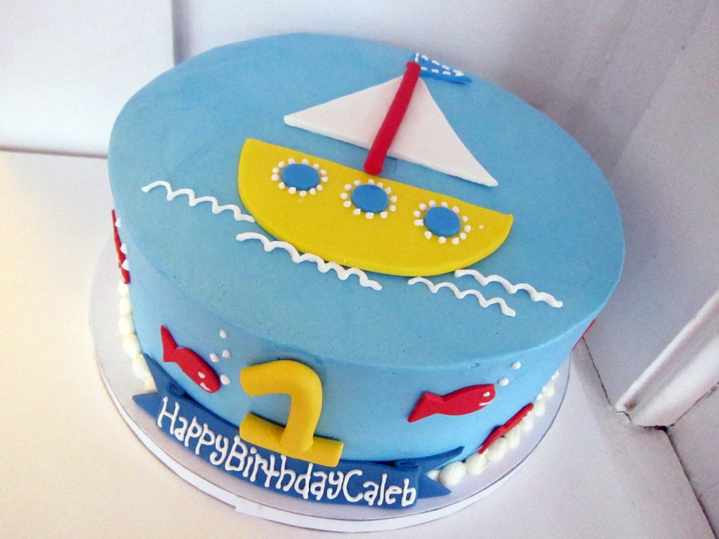 Boat First Birthday Cake Polkadots Olga Flickr