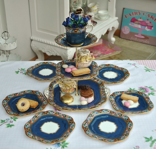 Gold Art Deco Cake Stand : Art Deco Blue and Gold Tea Set and Cake Stand A vibrant ...