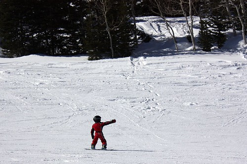 3 year old sending it on snowboard | by solitude mountain resort