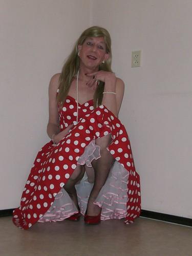 Polka dot dress and petticoat.