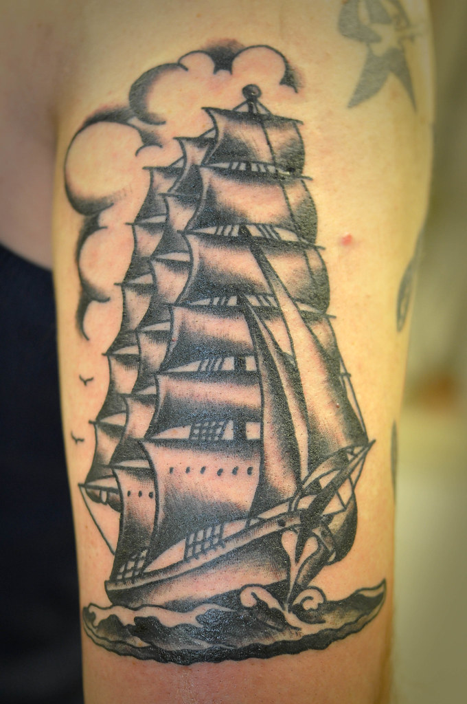 Black And Grey Traditional Clipper Ship Tattoo By Keelhaul Flickr