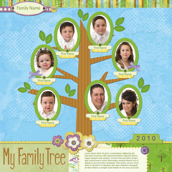 Family Tree Digital Scrapbooking Layout - Summer | Ancestry … | Flickr