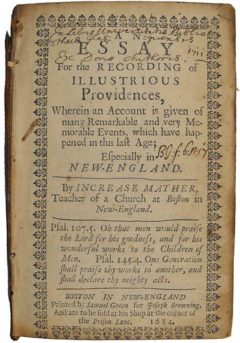 an essay for the recording of illustrious providences Title: an essay for the recording of illustrious providences wherein an account is given of many remarkable and very memorable events which have hapned this untitleddocx click here to find out more.