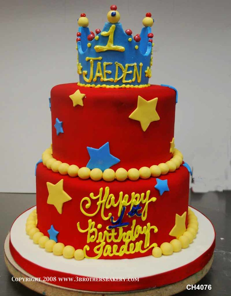 Ch4076 Crown Tiered Kings Or Queens Birthday Cake 3 Brothers