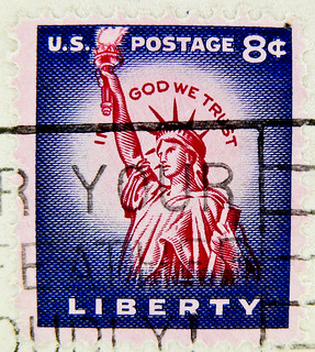 stamp USA 8c United States of America Lady Liberty in god we trust timbre États-Unis u.s. postage 8 c Cent selo Estados Unidos sello USA francobolli USA Stati Uniti d'America почтовая марка США pullar ABD 邮票 美国 Měiguó Briefmarken USA New York Liberty Isla | by stampolina, thx for sending stamps! :)