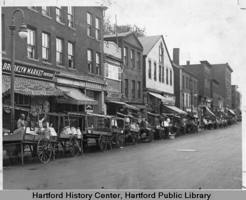 Pushcarts on Front Street, Hartford, | by Connecticut History Online