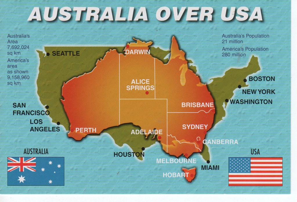 Australia over USA map with flags | 11 x 17cm | Sam P | Flickr