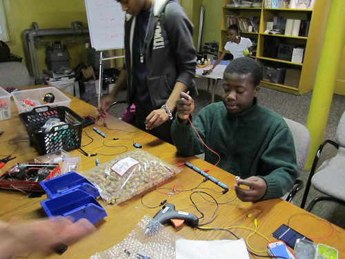 Jeremiah testing his circuit | by Mt Elliott Makerspace